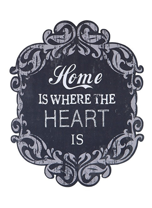 "Warm Design  ""Home is Where Heart is"" Duvar Dekoru Siyah"